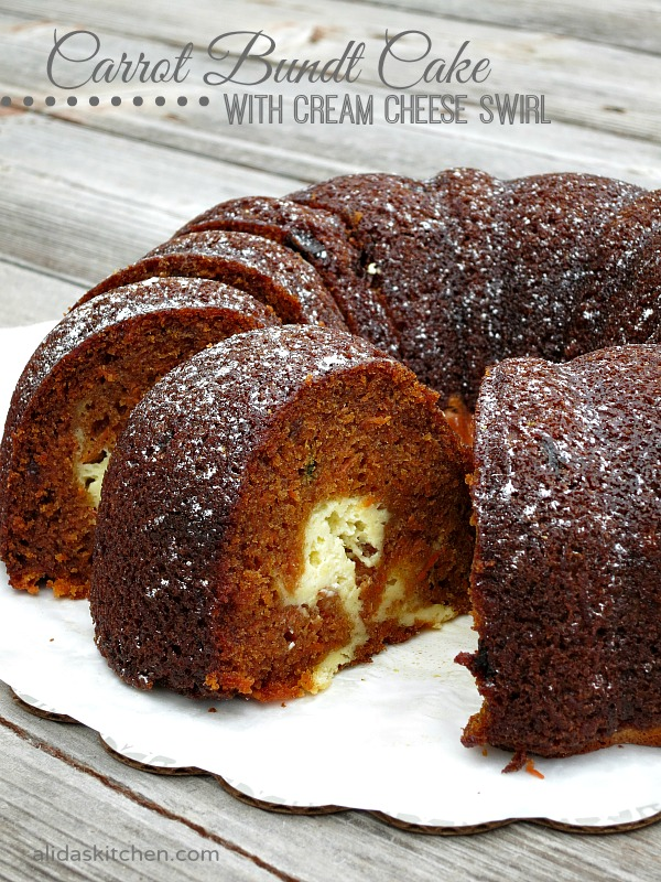 Carrot Bundt Cake with Cream Cheese Swirl | alidaskitchen.com #recipes #SundaySupper
