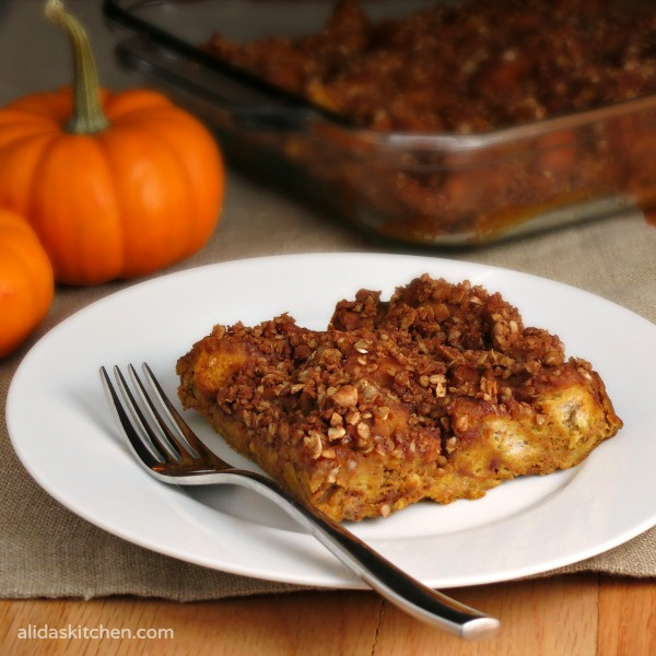 Baked Pumpkin French Toast | alidaskitchen.com #recipes #SundaySupper