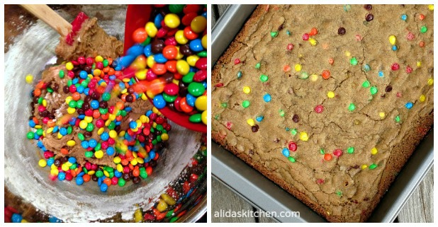 Coconut Oil M&M Cookie Bars | alidaskitchen.com #MyDataMyWay  #shop
