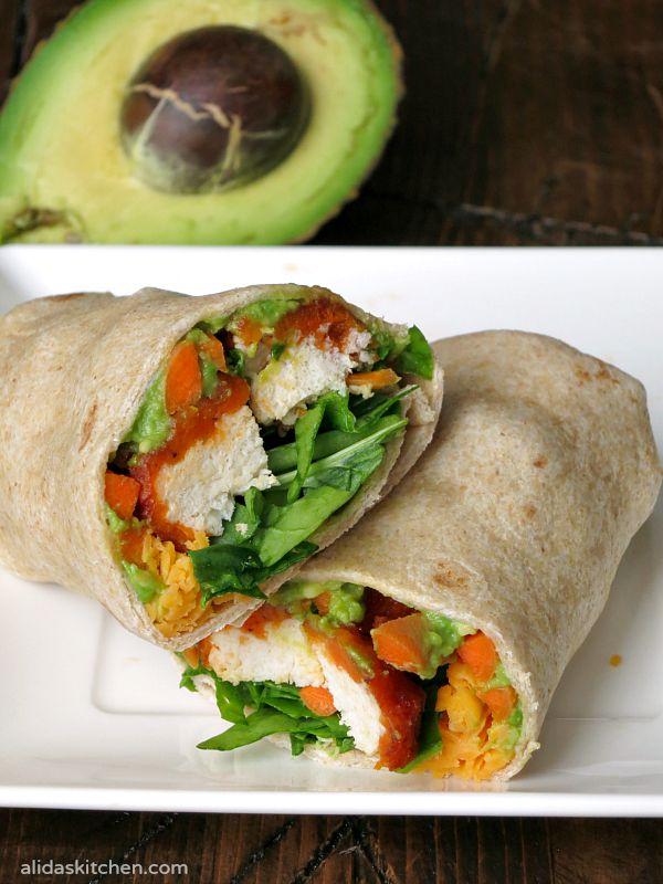Easy Buffalo Chicken Avocado Wrap | alidaskitchen.com