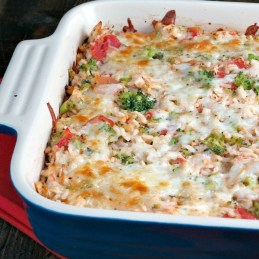 Cheesy Tomato Chicken Rice Bake | alidaskitchen.com