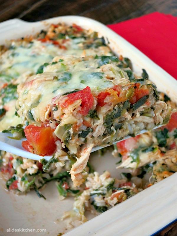 Spinach Artichoke Chicken Rice Casserole | alidaskitchen.com