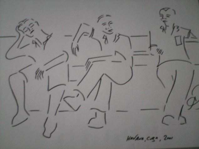Siesta in Havana's Parque Central - from my Cuba sketchbook.