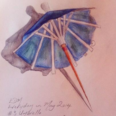 A cocktail umbrella