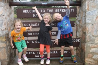 Lottie, Leon and Frida at the Western Gate of the Serengeti National Park.