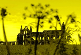 Whitby Abbey in Yellow, North Yorkshire, England