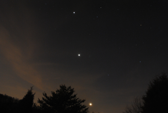 The Moon, Venus and Jupiter over Mooresville, NC