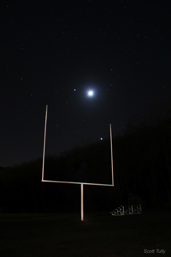 Jupiter, Venus and the Moon with Goalposts over Kent. CT