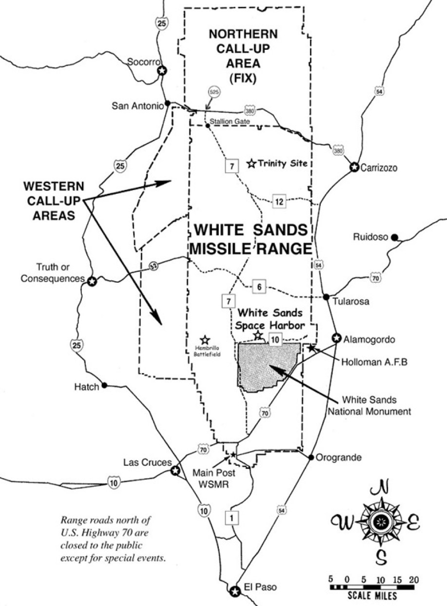 Map of the White Sands Missile Range.