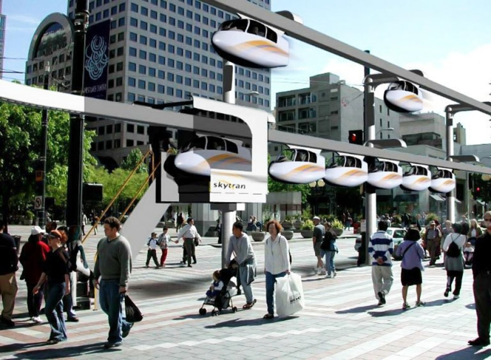 design render for an outdoor skytran station