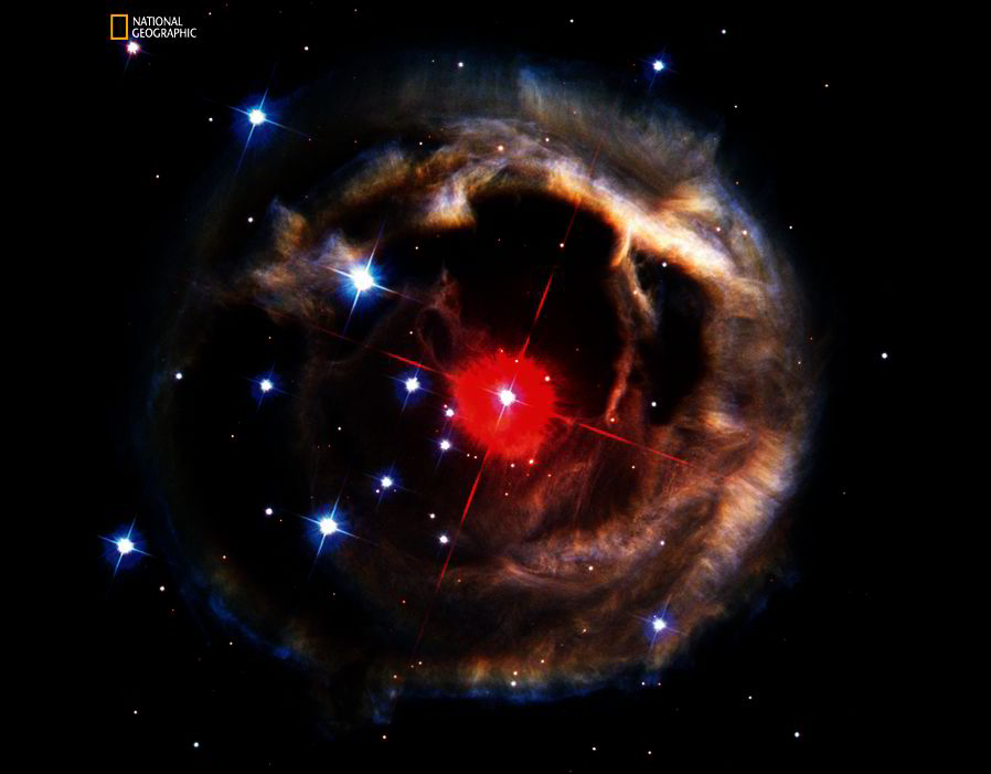 Over several months in 2002, Hubble captured a cosmic spectacle—a ragged balloon of dust that appeared to expand around the star V838 Monocerotis