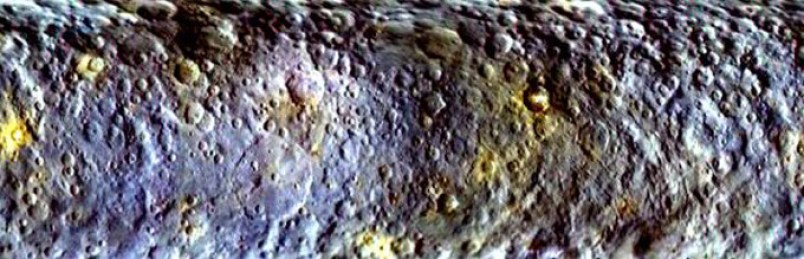 Images of Ceres taken by Dawn rotating around planet have allowed colour map to be made