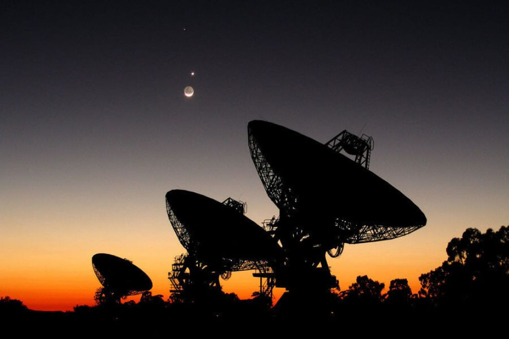 Mercury, Venus and the Moon behind the Australia Telescope Compact Array, Narrabi, New South Wales. Boom, Boom, BOOM!!!
