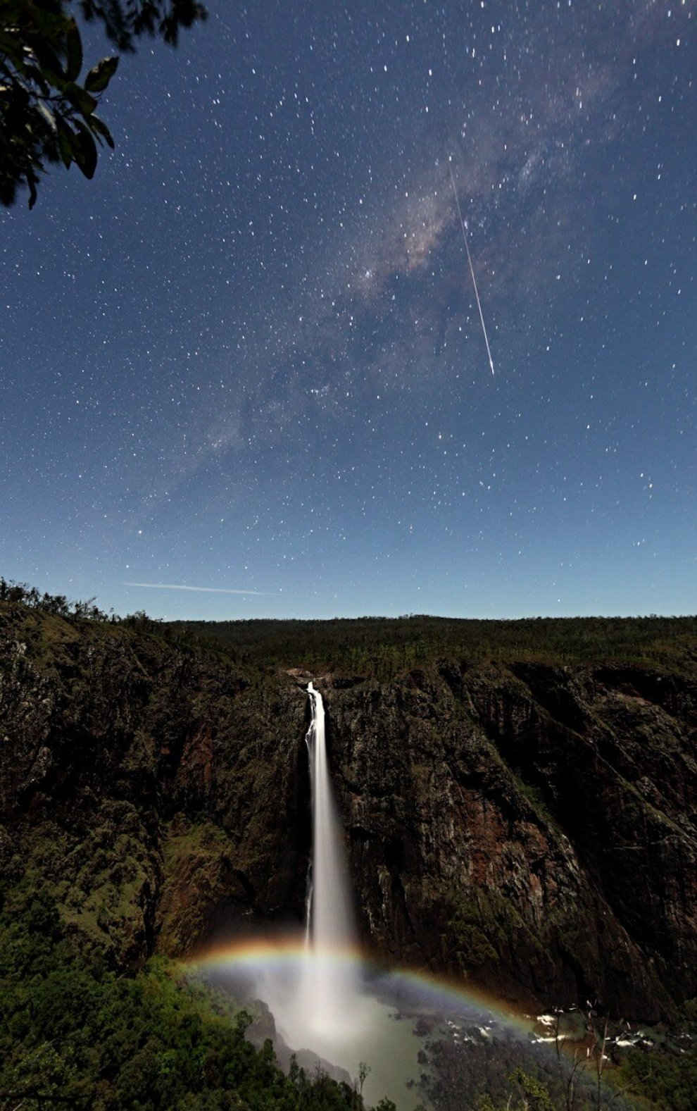 1-2-3 OMG!!! Magnificent meteor, Milky Way AND moonbow over Wallaman Falls, Queensland.
