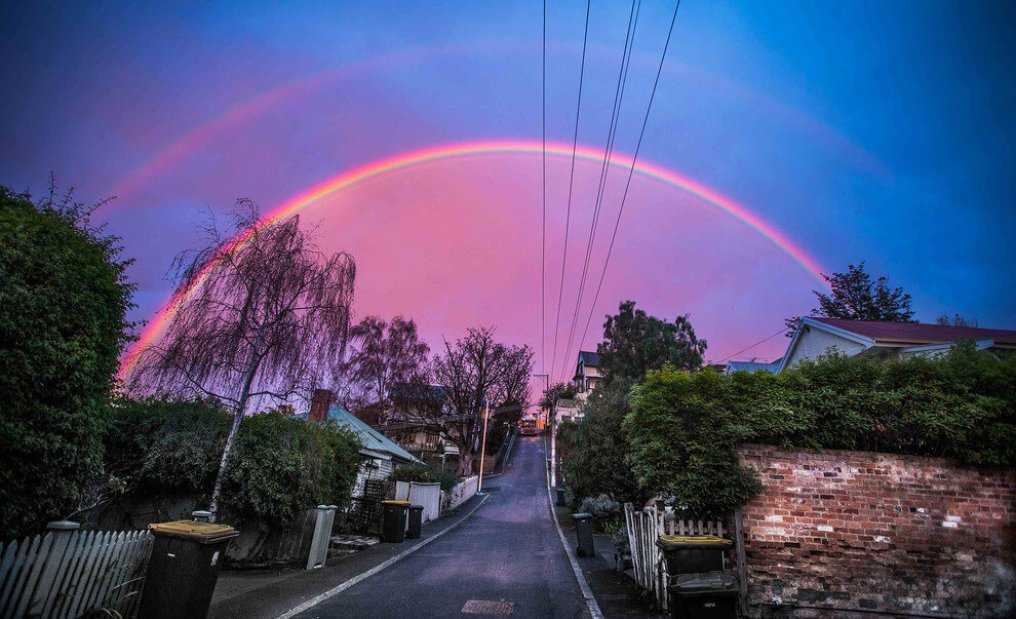 This very special rainbow over Tasmania.