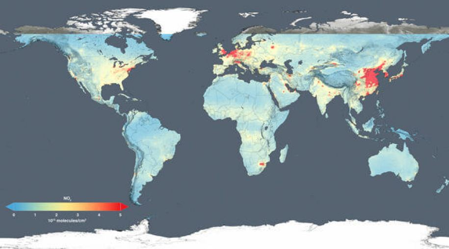 This map shows changes in nitrogen dioxide across whole globe