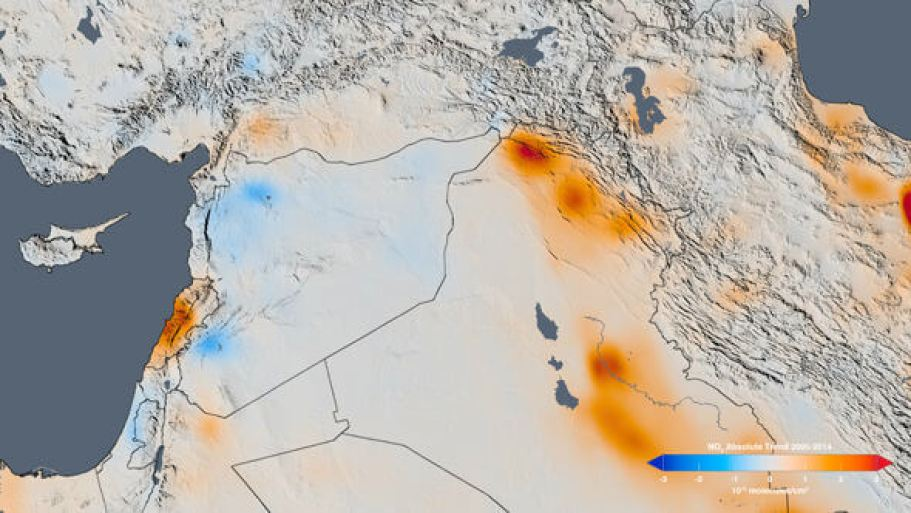 This NASA map shows the increase in nitrogen dioxide in Lebanon and decreases in Syria