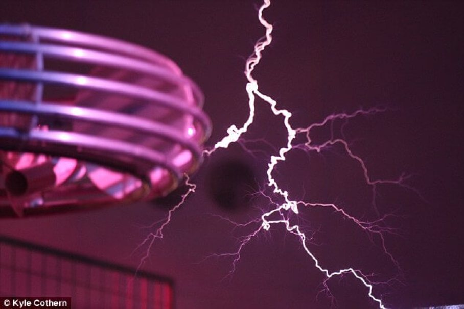 A Tesla coil (pictured) is an electrical resonant circuit that produces high-voltage, low-current, high frequency electricity.It features two main sets of windings - a primary, input, and a secondary output. The primary winding pushes the voltage through to the second winding, via a spark gap, and this creates the bolt of energy