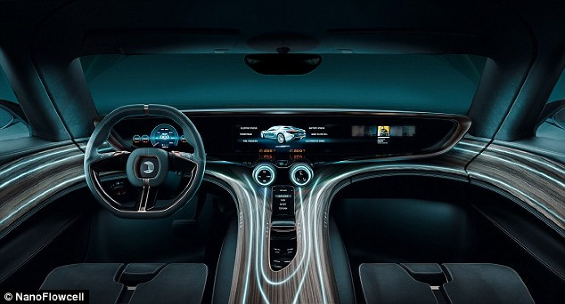 The car carries the water in two 200-litre tanks, which provide a range of up to 373 miles (600km). Inside is a full-length interactive dash, with wood-theme features and an Android-based entertainment system