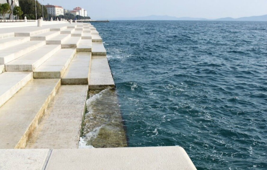 Morske Orgulje, Sea Organ, Zadar, croatian architect, music by the sea, sea-powered instrument, organ played by seawater, ocean organ, environmental music, acoustic structures, ocean music organ, ocean organ, music in architecture, architectural music