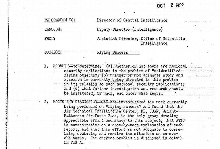 A memo on national security and the 'vulnerability to air attack' from flying saucers