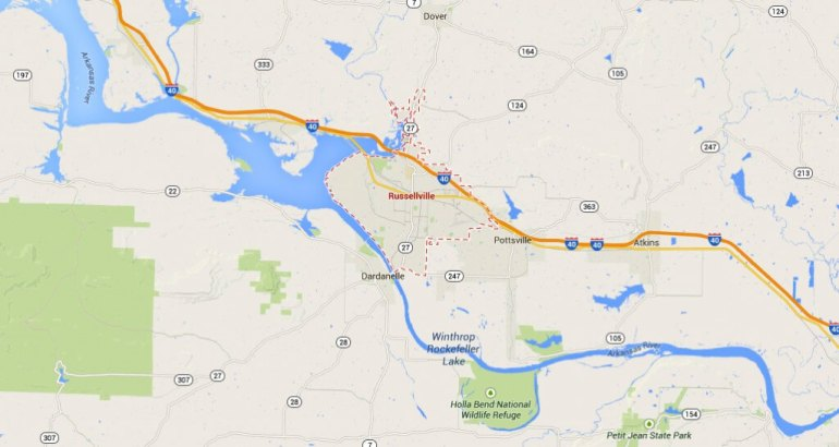 Russellville is about 75 miles northwest of Little Rock, Arkansas. (Credit: Google)