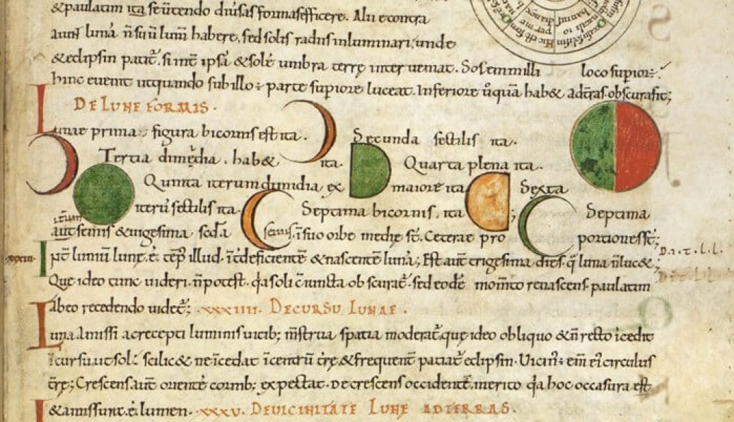 Diagrams of the path of the Sun and the phases of the moon; from Isidore of Seville, Etymologies, England, last quarter of the 11th century, Royal 6 C. i, f. 30r.