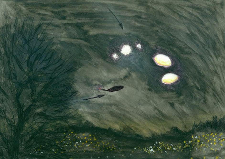 Drawing by Hilary Porter of one of her UFO sightings in Farnborough