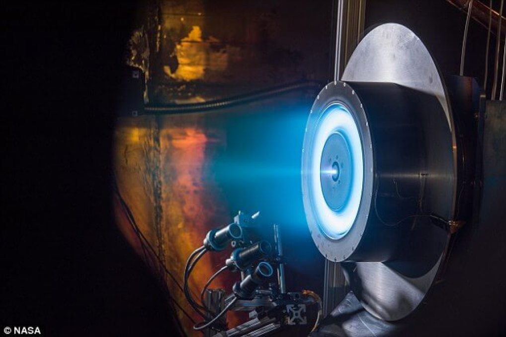 Nasa is betting on advanced solar-electric propulsion technology to explore the outer reaches of our solar system. The space agency today awarded Aerojet Rocketdyne of Redmond, Washington, a $67 million contract to help develop the technology. Pictured is a Hall thruster electric propulsion unit in operation