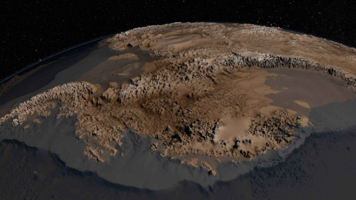 This is what Antarctica looks like the Icy would melt. Image Credit.