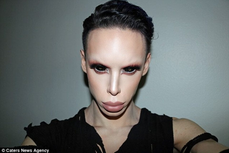 Make-up artist Vinny Ohh, 22, from Los Angeles in California, has plans costing over $160,000 ((£130,000) to become a genderless alien. He has already spent$50,000 (£40,000) on plastic surgery to become an alien