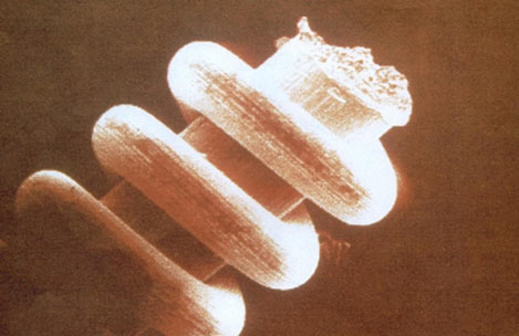 A magnified image of one of the nano coils found in the Ural Mountains