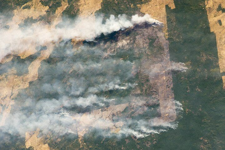 Ongoing human catastrophes are easily visible, too, like deforestation.