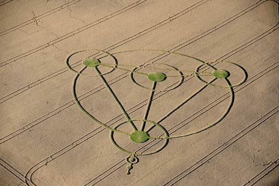 Crop circles adorn wheat fields near Wiltshire, England