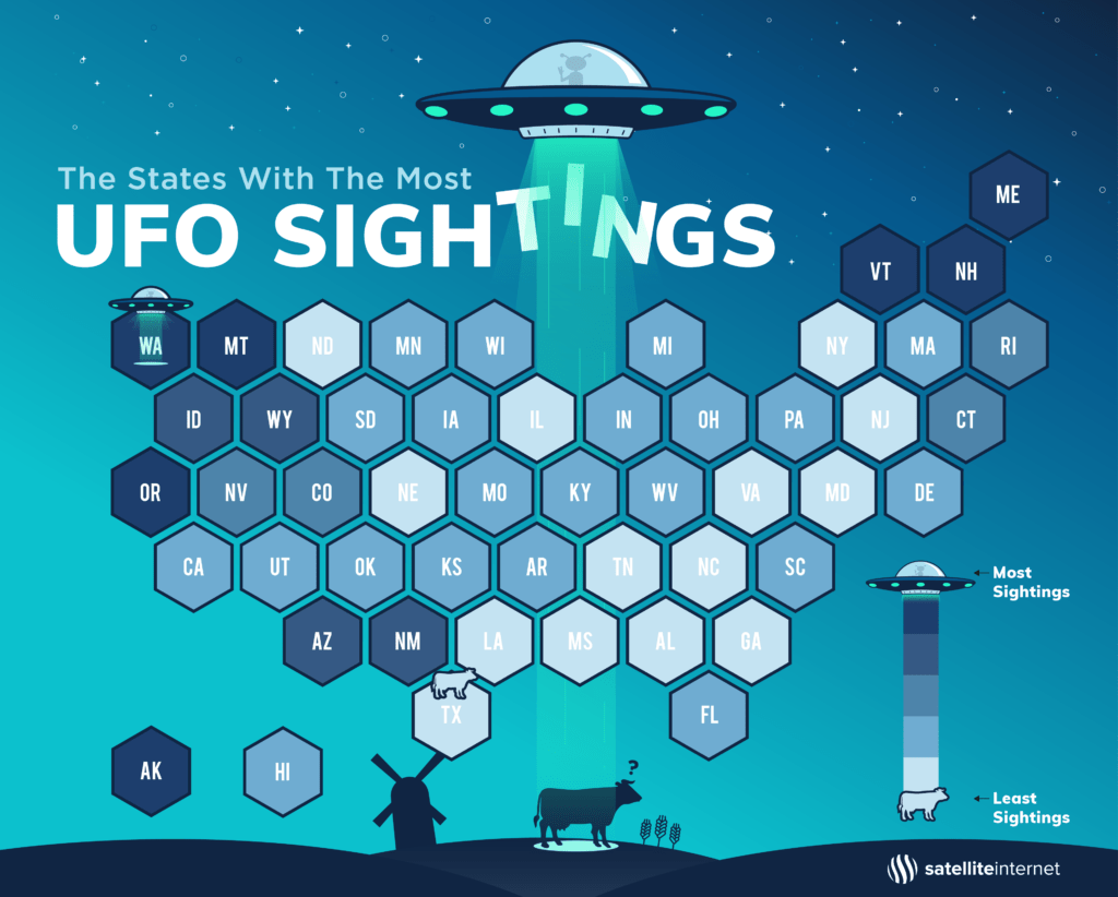 UFO Sightings by State map