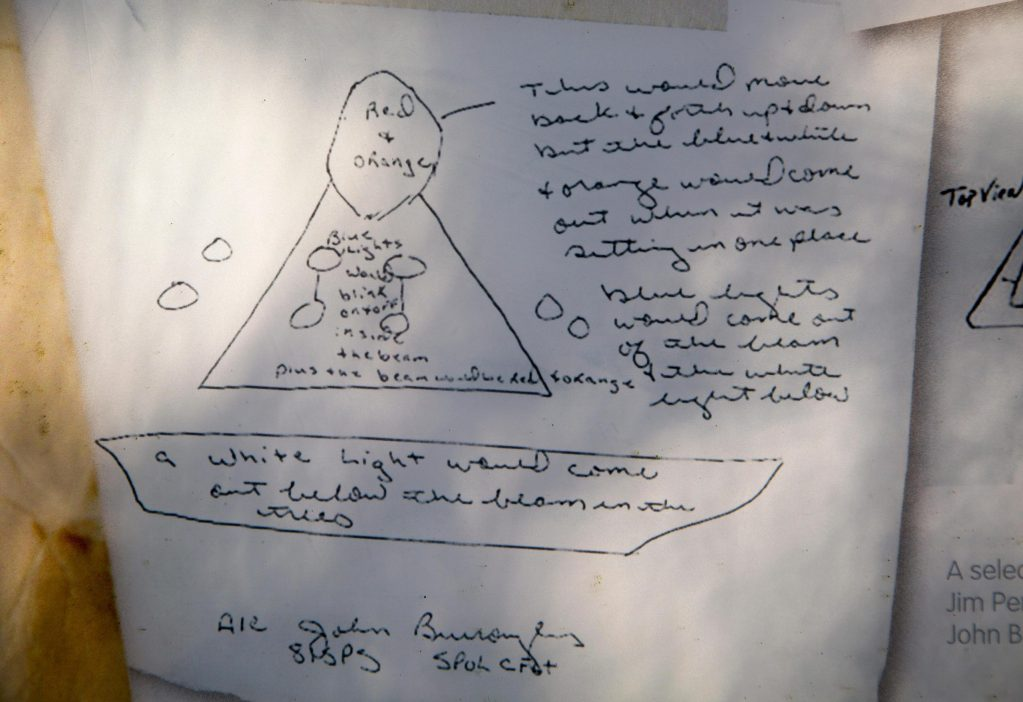 Drawing of an 'alien spacecraft' spotted by two US servicemen during an unexplained incident in the Suffolk countryside in 1980