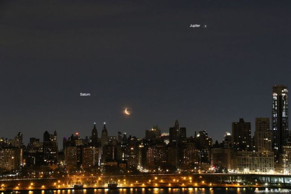 Krivenyshev also took this photo of the moon, Saturn and Jupiter over New York on Feb. 20, 2020.