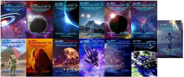 Alien Dimensions Science Fiction Fantasy and Metaphysical Short Stories Anthology Series Covers 1 to 13