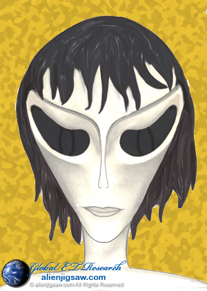 Yeux Noirs ET Alien Gris Hybride Mâle