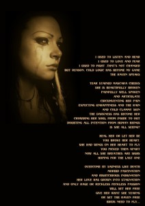 A poem and piece of artwork about a woman in pain.