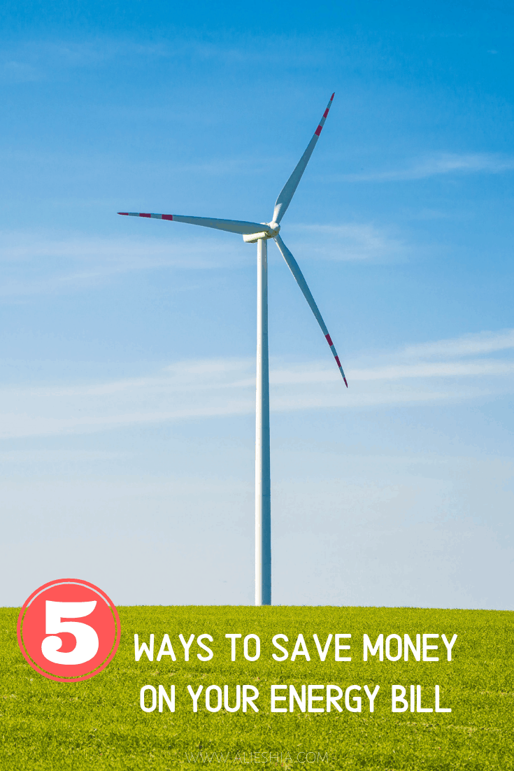 large wind turbine with text 5 ways to save money on your energy bill