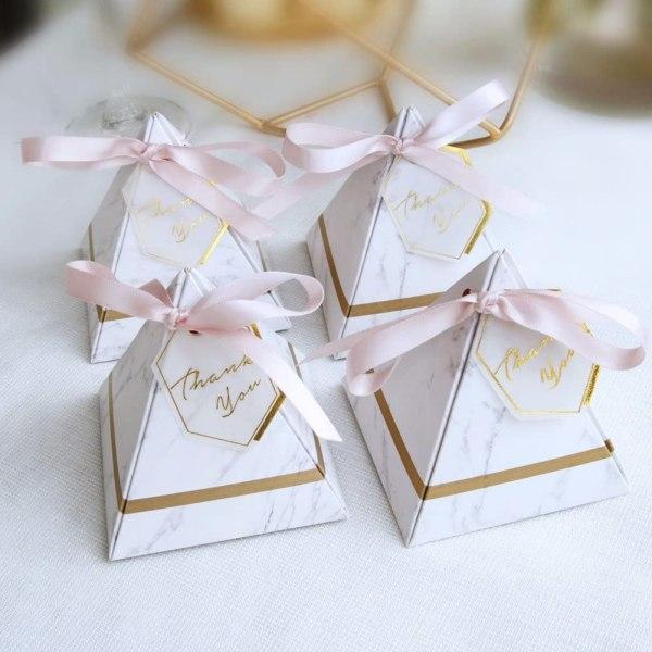 Cvery Lot de 100 boîtes à dragées triangulaires avec ruban et étiquettes de remerciement de style européen à motif marbre pour fête d'anniversaire, Pas de zéro, s, S