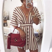 Women'sVacationBohemianBeachStripedButtonDressSexyDeepVNeckLooseDressesSummerWomenVintageCasualDresses