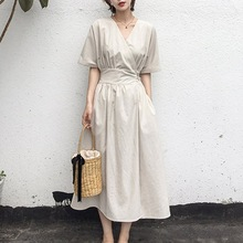 Summer Office Ladies Elegant Vintage Japan Style Women Midi Dresses Casual Linen High Waist Lace Up Female Korean Beige Dress