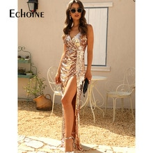 Echoine Sexy Gold Sequin Deep V Dress Women Sleeveless Backless Club Party Dresses Lady Female Sling High Split Long Bodycon