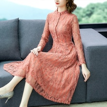 Korean Fashion Women Dress Woman Lace Dress Plus Size Woman High Waist Embroidery Dresses Elegant Women Print Long Dress Vestido
