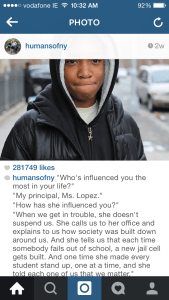 Screen shot from Instagram of the HONY interview with Vidal that gave this story a jump start. (Apologies for the cropping; I did want his words to be readable.)