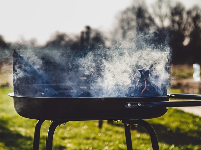 barbecuing in the garden