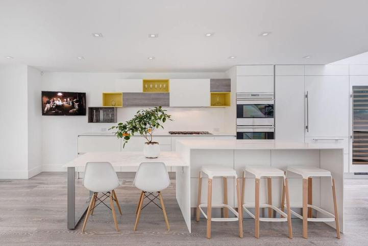 mustard and grey kitchen
