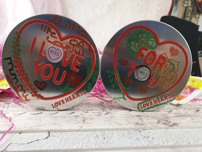 Love Heart tins decorated